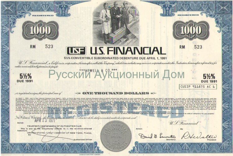 U.S. Financial. 1000$,  5 1/2% convertible subordinated debenture, 1971