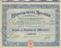 Établissement Mourier. L.Barraya & C-ie. Action de 500 francs. Paris, 1923