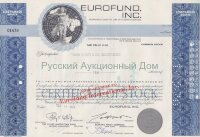 EUROFUND, Inc. Maryland. Less than 100 shares. 1960's (blue)