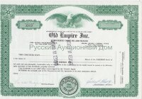 Old Empire Inc. New Jersey. Stock certificate. ERROR