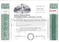 Basic Resources International (Bahamas) Limited. Shares. 1980's