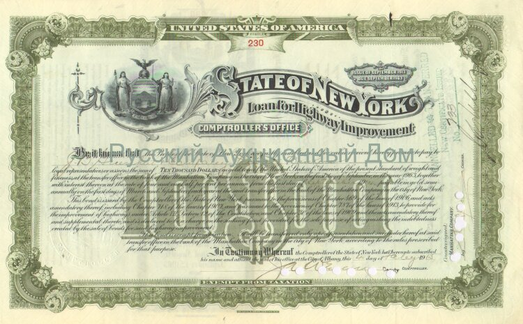 State of New York. Issue of September 1913. Loan for Highway Improvement. 10000$ (olive)