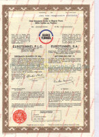EUROTUNNEL P.L.C./S.A. Ordinary shares 40p/ Action de FRF 10. 1000 units. SPECIMEN 1988