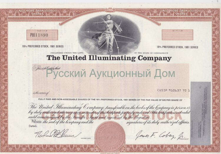The United Illuminating Company. Connecticut. 16% preferred stock. 1980's. Blank form. UNC
