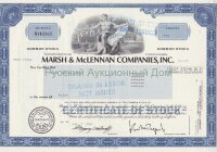 Marsh & McLennan Companies, Inc. Delaware. Stock certificate. 1980's (blue) DRAWN in ERROR