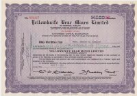 Yellowknife Bear Mines Limited. Stock certificate. Ontario, 1950-1960's