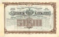 State of New York. Issue of July 1911. Loan For Canal Improvements. Bond. 5000$. 1931 (brown) Vanderbilt