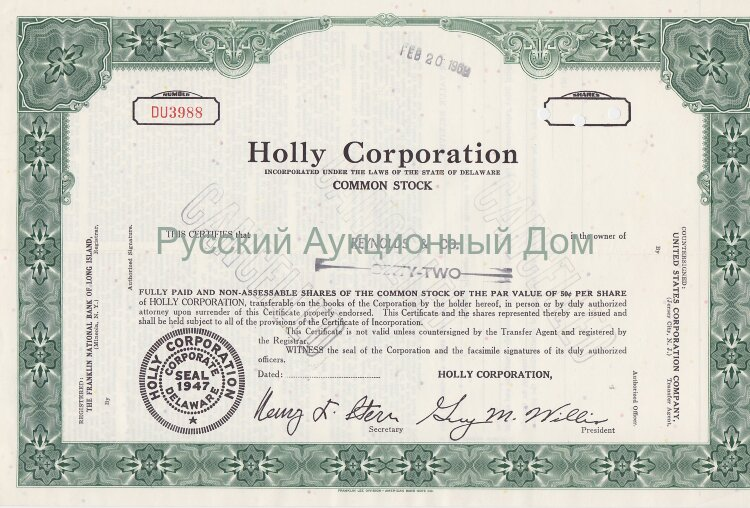 Holly Corporation. Delaware. Stock certificate. 1969