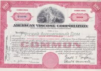 American Viscose Corporation. 100 shares. Delaware. 1950's (pink)