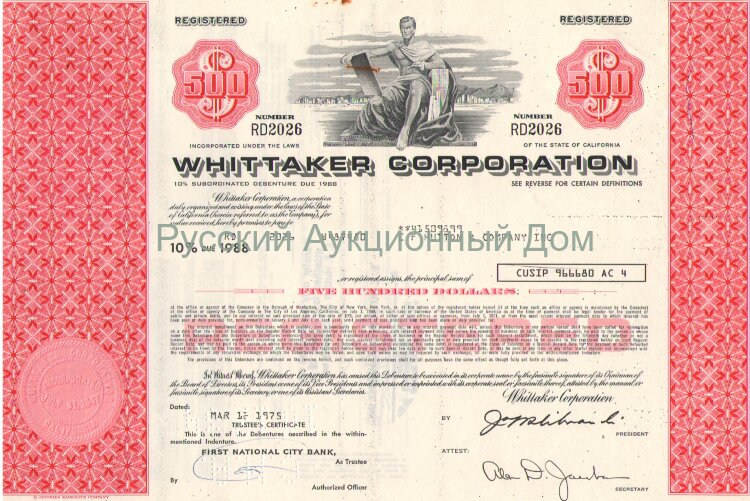 Wittaker Corporation. 500$,  10% debenture, 1975