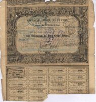 Compagnie Immobiliere de Paris. Une obligation de 500 francs. Paris, 1861