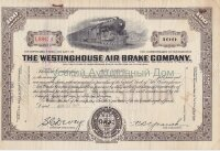The Westinghouse Air Brake Company. Pennsylnania. Stock certificate, 100 shares. 1943