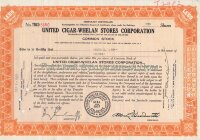 United Cigar - Whelan Stores Corporation. Delaware. Less than 100 shares, 1930's (orange)