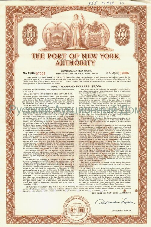The Port of New York Authority. New Jersey/New York. Bond. 5000$. 1970's (brown)