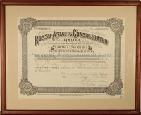 Russo-Asiatic Consolidated Limited. Certificate for 200 shares. 1957