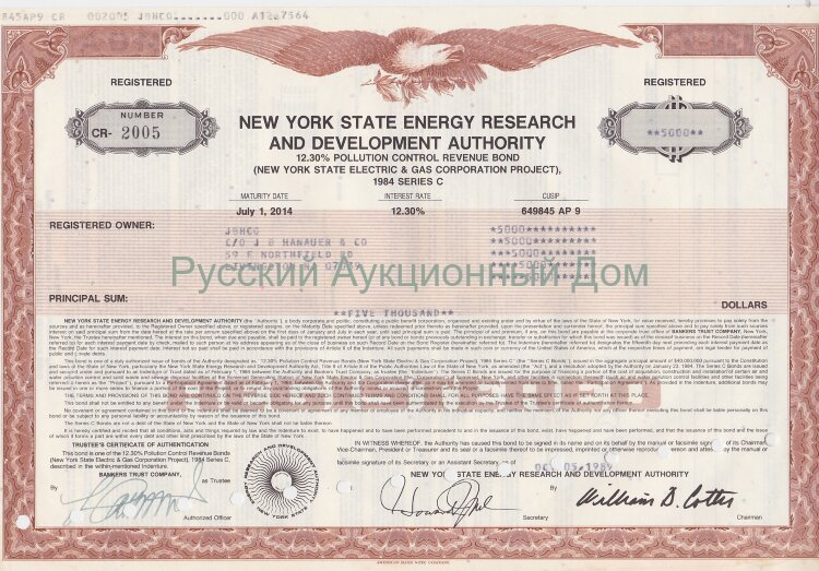 New York State Energy Research and Development Authority. 12.30% Bond. 1980's (brown)