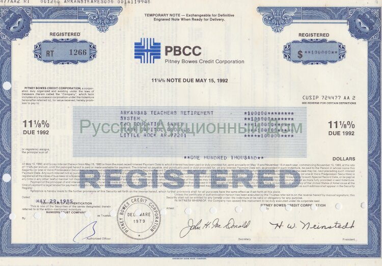 PBCC. Pitney Bowes Credit Corporation. Delaware. 11 1/8% note. 1980's