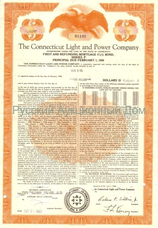 The Connecticut Light and Power Company. Connecticut. 4 7/8% bond. 1960-1980's