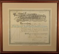 The Terek General Oil Company limited. Certificate for 218 shares, Paris, 1913