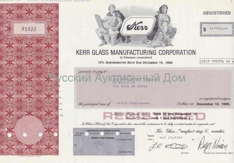 Kerr Glass Manufacturing Corporation. Delaware. 13% note. 1980-1990's