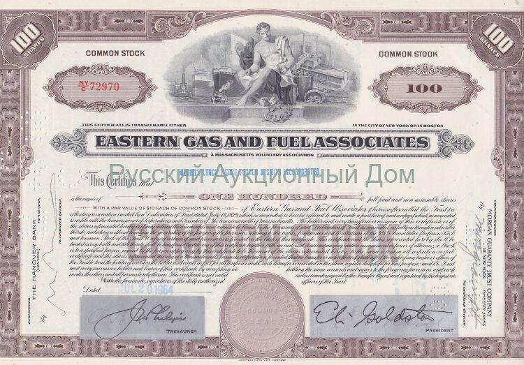 Eastern Gas and Fuel Associates. Massachusets. 100 shares. 1960's (brown)