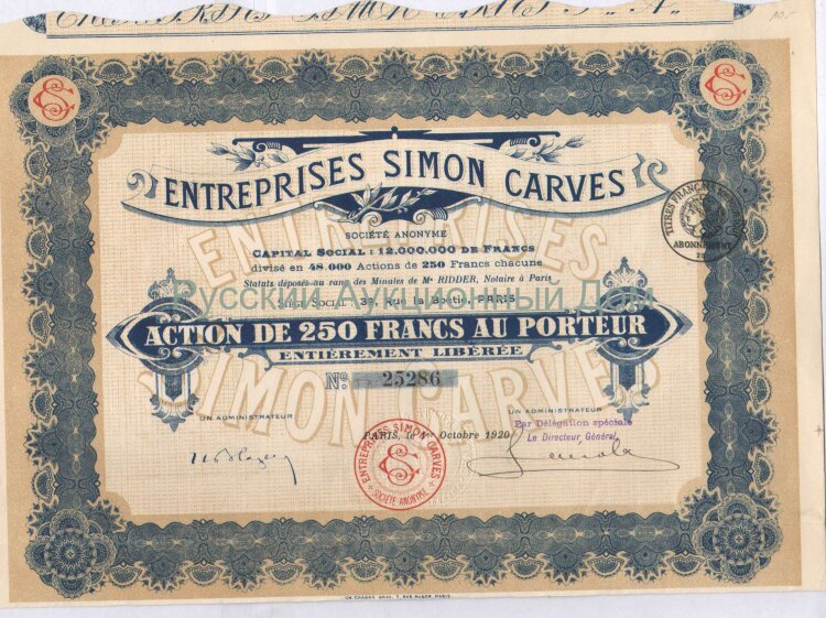 Entreprises Simon Carves S.A. Action de 250 francs. Paris, 1920
