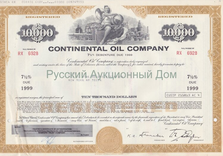 Continental Oil Company. Delaware. 7 1/2% bond. 1980's. 10000$