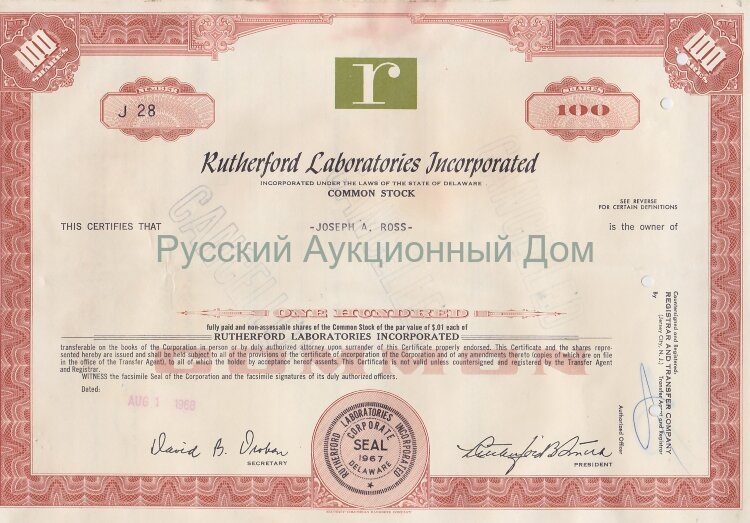 Rutherford Laboratories Incorporated. Delaware. 100 shares. 1960's