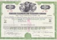 Carolina Telephone and Telegraph Company. North Carolina. Debenture 1000$. 1980's (green/turquoise)