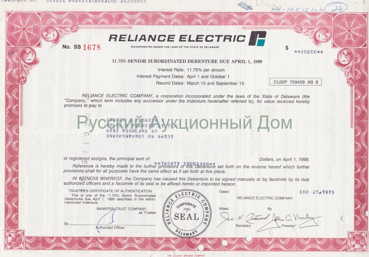 Reliance Electric Company. Delaware. 11.75% debenture. 1980's (pink)