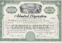 Admiral Corporation. 100 shares. 1960-1970's. Delaware (green, capital stock)