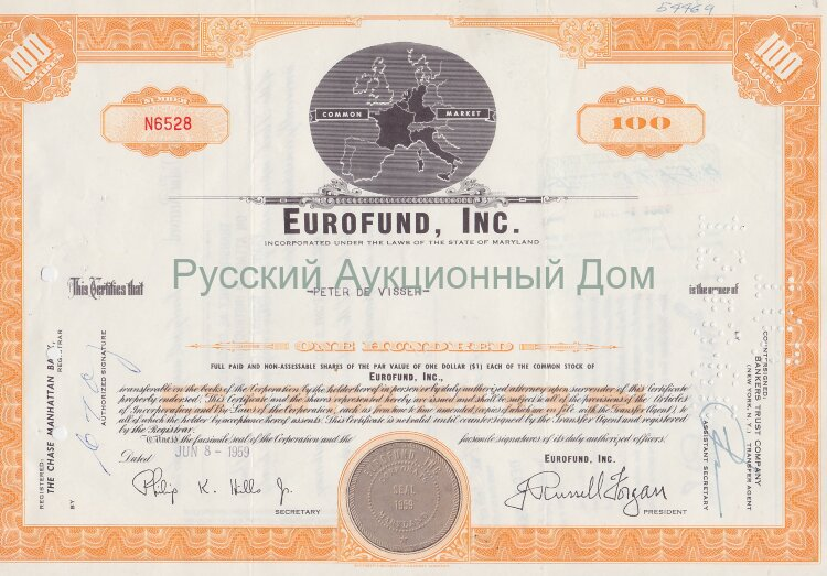 EUROFUND, Inc. Maryland. 100 shares. 1960's (orange)