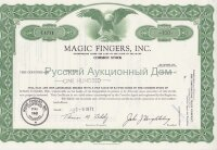 Magic Fingers, Inc. Stock certificate. 1970's