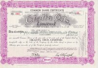 Okalta Oils, Limited. Canada. Stock certificate, 1950's