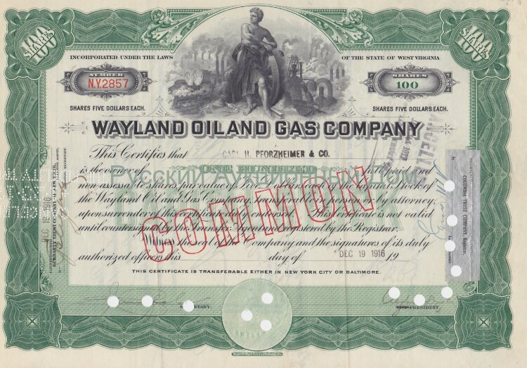 Wayland Oil and Gas Company. West Virginia. 100 shares. 1916
