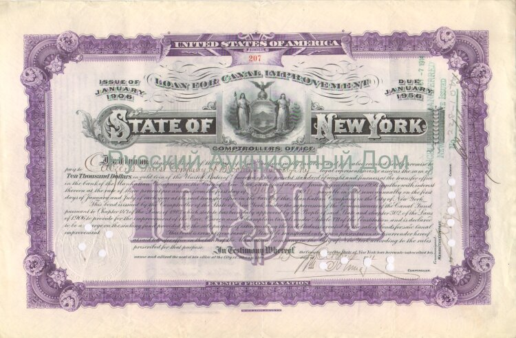 State of New York. Issue of Januare 1906. Loan for Canal Improvement. 10000$ (purple)
