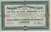"Manufacture des Engrais ""NOVO"".  Les fils de Paul Bernard & C-ie (Établissements  Paul Bernard & C-ie).  Action de 100 francs. Lomme 1930"