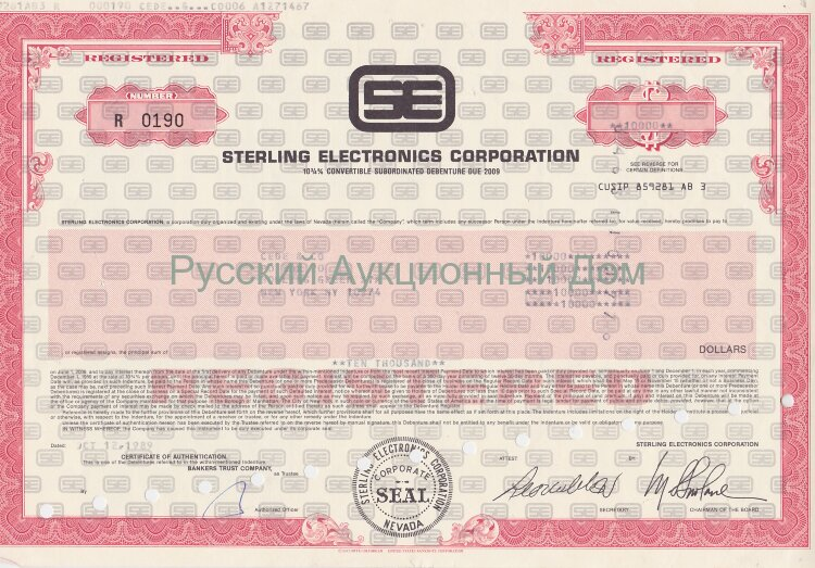 Sterling Electronics Corporation. Nevada. 10 3/4% debenture. 1980's