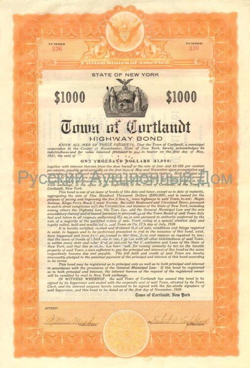 Town of Cortland. New York. Bond.  1000$. 1920's (1929, orange)