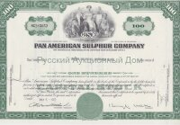 Pan American Sulphur Company. Delaware. 100 shares. 1970's (green)