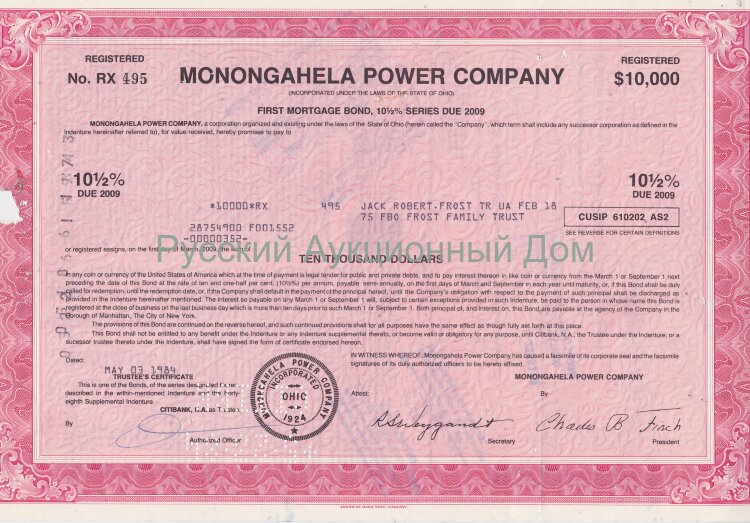 Monongahela Power Company. Ohio. 10 1/2% bond. 1980's