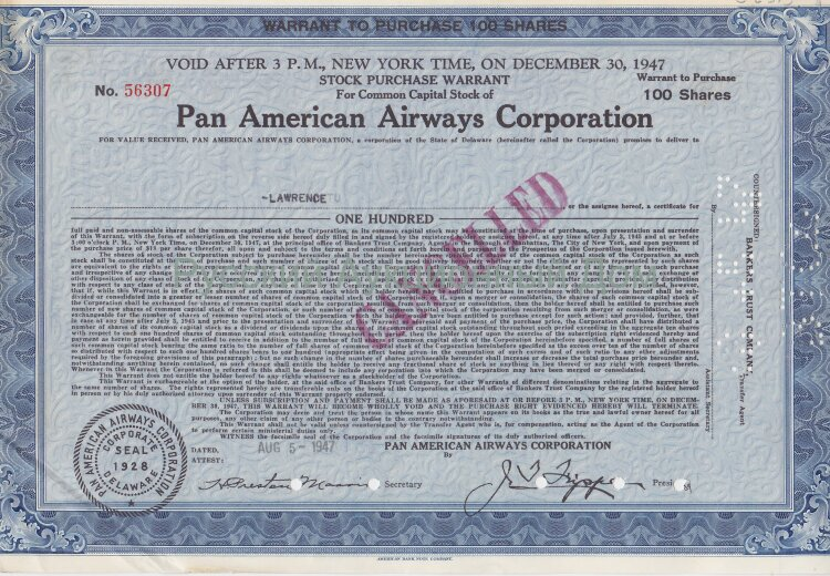 Pan American Airways Corporation. Delaware. 100 shares. 1940's (blue)