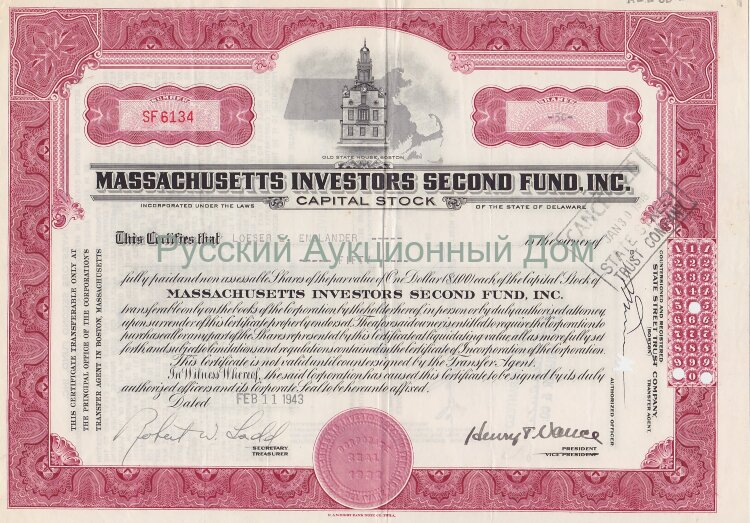 Massachussetts Investors Second Fund, Inc. Delaware. Capital stock. 1940's