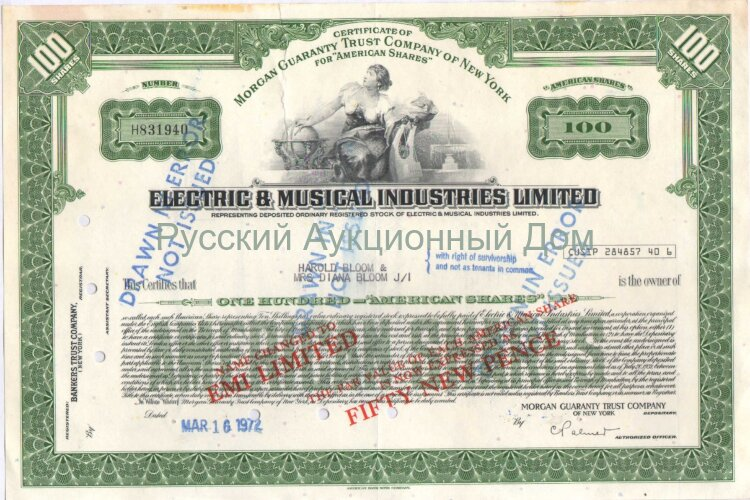 Electric & Musical Industries Limited (EMI Limited). 100 shares. 1972