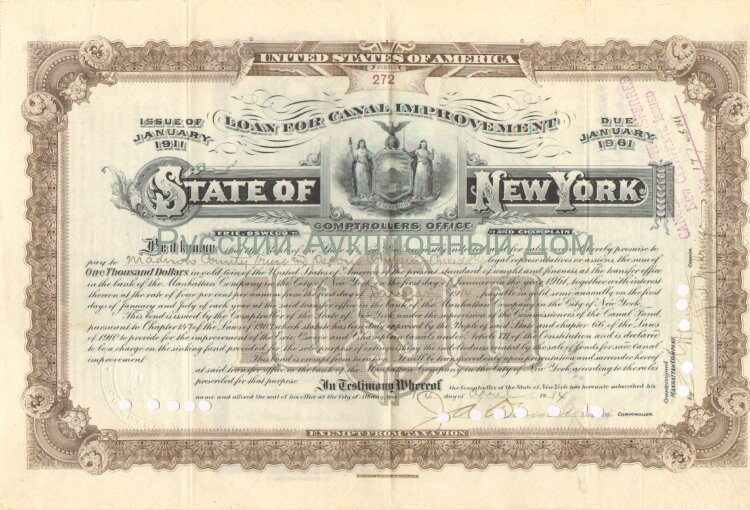 State of New York. Issue of Januare 1911. Loan for Canal Improvement. 1000$ (brown)