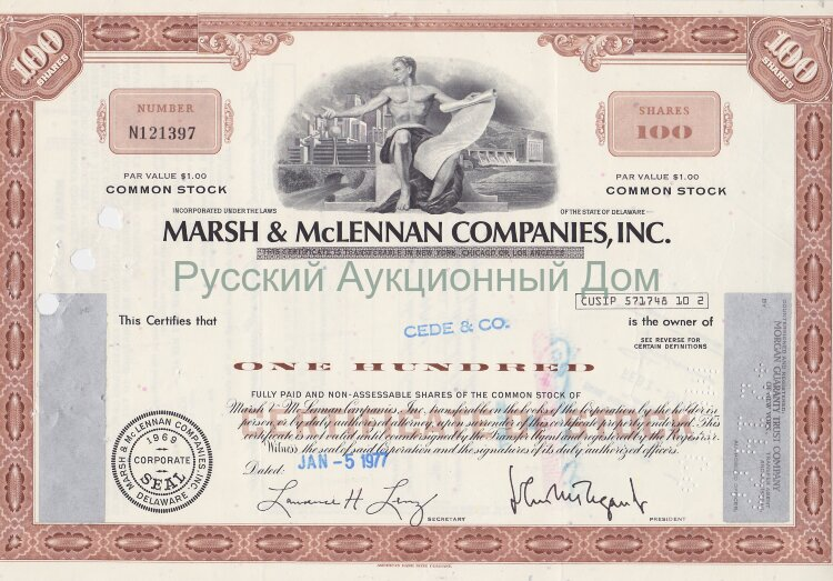 Marsh & McLennan Companies, Inc. Delaware. 100 shares, 1970's (brown)