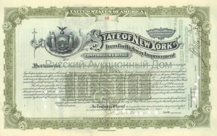 State of New York. Issue of September 1913. Loan for Highway Improvement. 1000$ (olive)