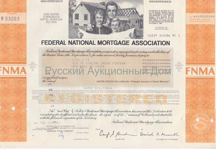 Federal National Mortgage Association. Zero coupon debenture. 1980's