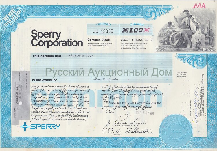 Sperry Corporation. Delaware. Stock certificate. 1980's