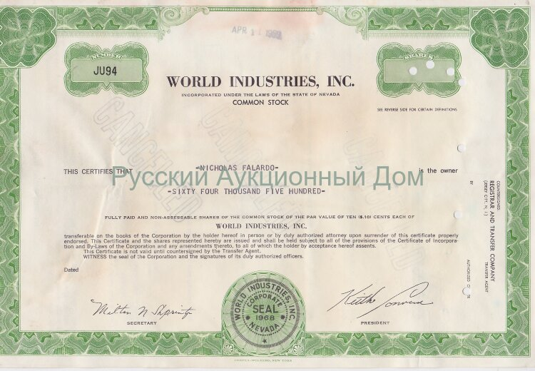 World Industries, Inc. Nevada. Stock certificate. 1960's